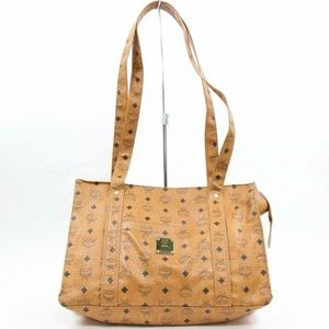 MCM Cognac Monogram Visetos Shopper Tote 870336
